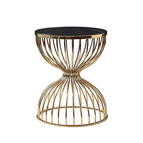 SJYDQ Covering an area of small European light marble round metal side table humanized rounded corner design modern simple