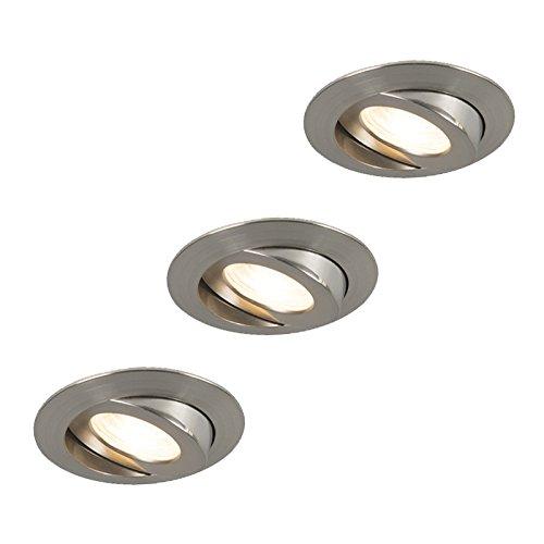 QAZQA Modern 3er Set Bad/Badezimmer Einbaustrahler Stahl/Silber/nickel matt inkl. LED IP44 - Relax LED/Innenbeleuchtung/Wohnzimmerlampe/Schlafzimmer/Küche Kunststoff Rund / (nicht austau