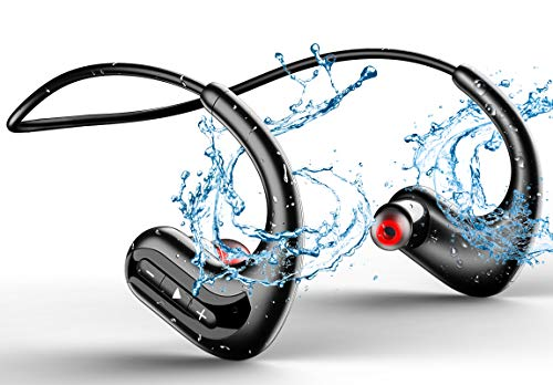 MP3 Wireless Headphones for Swimming, IPX8 Waterproof Earbuds Built-in 8GB Memory & Noise Cancelling Microphone, Sports Wearable Music Player Headset for Running, Cycling, Gym, Diving Water, Black