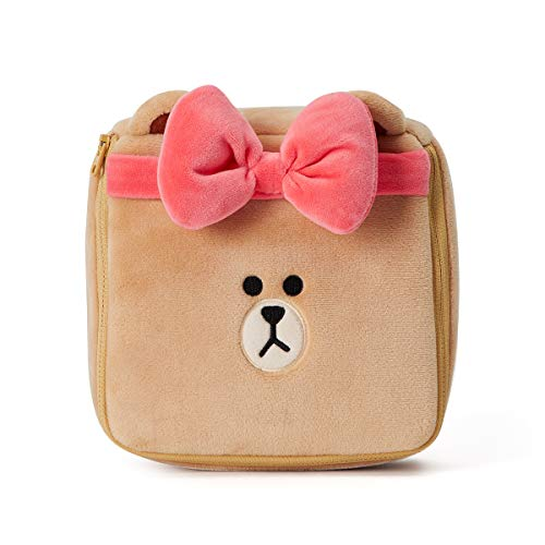 Line Friends CHOCO Character Plush Travel Toiletry Comestic Pouch Bag with Zipper, Beige