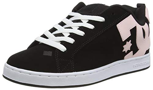DC Shoes Court Graffik, Zapato de Skate para Mujer, Black/Super Pink, 36.5 EU