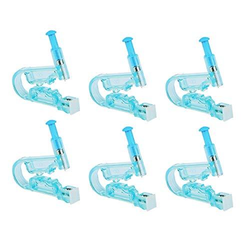 Ericotry Einweg-Sicherheits-Ohr-Piercingpistole, Werkzeug mit Ohrstecker, Asepse-Piercing-Kit für Damen und Herren, 6 Stück (blau)