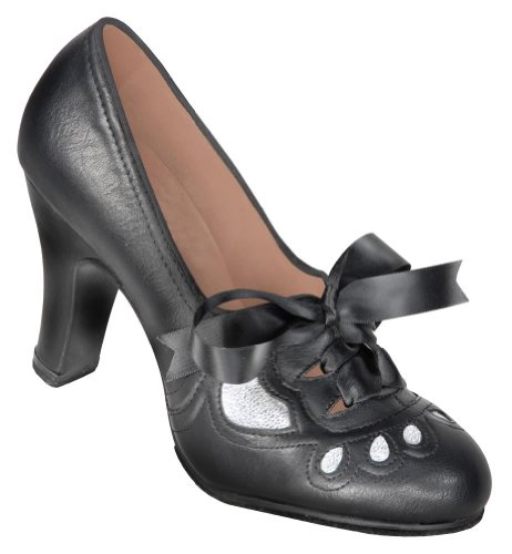Aris Allen Women's 1930s Black and Silver Lace-up Heeled Oxford Shoes, Size: 9.5