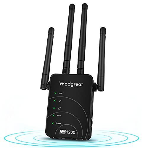 Repetidor WiFi, Wodgreat 1200M Amplificador Señal WiFi Extender WiFi Banda Dual 2.4GHz y 5GHz Extensor de WiFi Largo Alcance para Casa, 4 Antenas, Puerto Ethernet, con Ap/Repeater/Router Modos