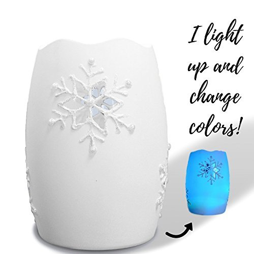 BANBERRY DESIGNS Frosted White Snowflake Light - LED Slow Color Changing Glass Snowflake Tea Light Candle - 5 Inches Tall