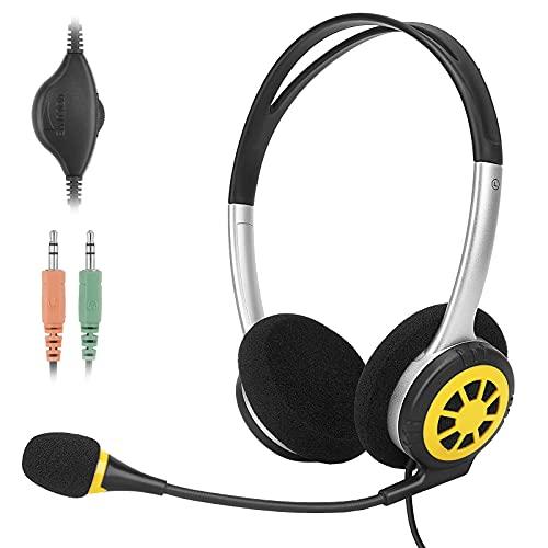 dexinco PC Headset 3,5mm Klinke Kopfhörer, Over Ear Kopfhörer Stereo Sound mit Noise Cancelling Mikrofon & Lautstärkeregler, für Business Call Center/Büro/Musik/e-Learning, Superleicht, Ultra Komfort