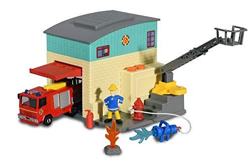 Dickie Toys Feuerwehrmann Sam Station Feuerwehr Station, Spielset, Garage mit zu öffnendem Tor und Abschussrampe, inkl. Jupiter Auto und Sam Figur