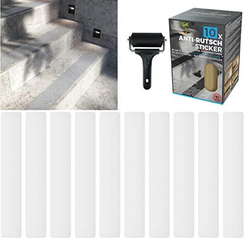 cocofy Anti-Rutsch Sticker für Treppen außen und innen,10x Streifen (61x10 cm) semi transparent durchsichtig, Starker Halt Dank Spezial-Outdoor-Oberfläche, Rutsch-Schutz für Treppenstufen