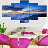 Cuadro sobre Lienzo 5 Partes Imprimir En Lienzo HD Cuadros para Dormitorios Modernos Decoración para El Hogar Nubes azules Mural Cuadro 200X100CM