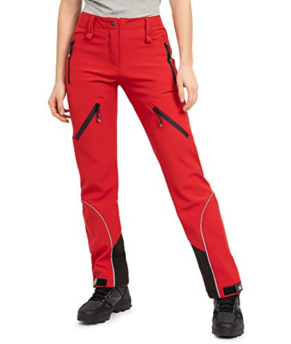 Rock Creek Damen Softshellhose Outdoor Hosen Wanderhose Sporthose Regenhose Damenhosen Outdoorhose Wasserdicht Taschen Softshell Hosen D-444 Rot M
