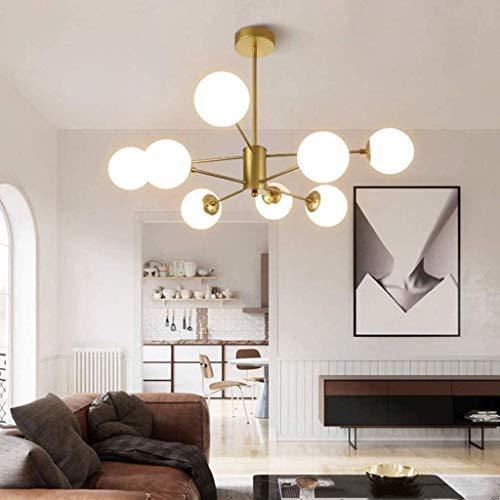 Modern Kronleuchter Magic Bean Wohnzimmer Pendelleuchte Glas Kugel Hängelampe E27 Lampe Metal Weiß Molekül Lampenschirm Hängeleuchte Büro Küche Schlafzimmer Esszimmer Lüster Leuchte,Gold,E27X8