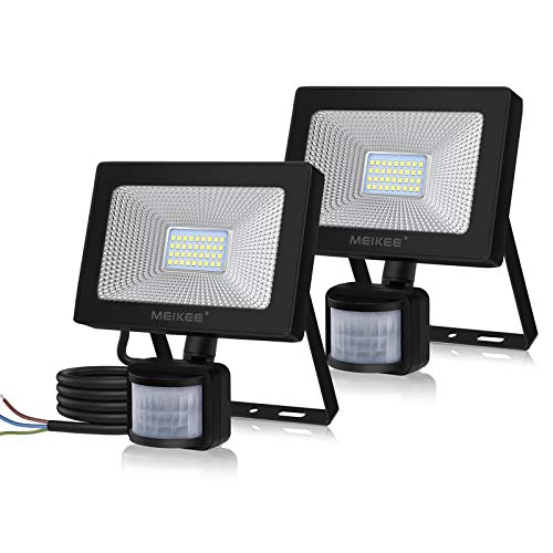 MEIKEE 30W LED Strahler mit Bewegungsmelder 3000LM Superhell LED Fluter mit Sensor IP66 Wasserdicht Außenstrahler Flutlichtstrahler Scheinwerfer für Garten Garage Sportplatz, 2 Pack