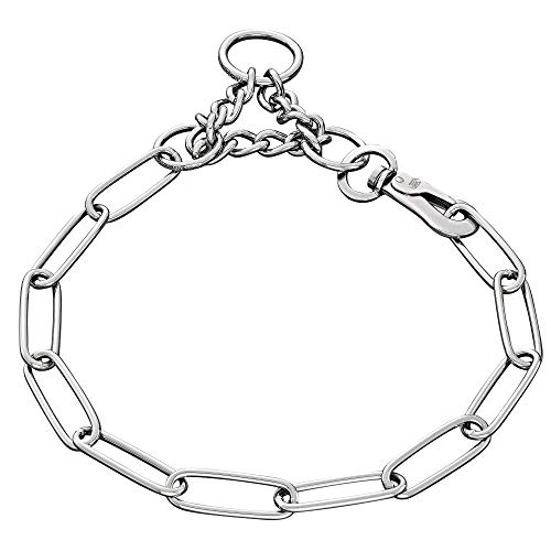 Sprenger Edelstahl Hundehalskette mit Karabinerhaken und Durchzugskette zur Zugbegrenzung I Hundehalsband mit Langgliedketten 3mm besonders Fellschonend, 58cm