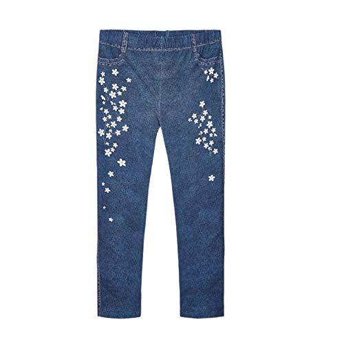 Mayoral - Leggings para niña Jeggins Ecofriends con flores blancas, azul oscuro - 3733