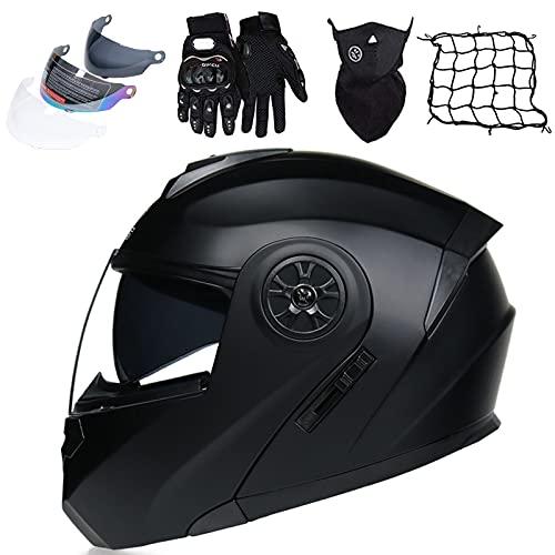 KILCVEM Casco de motocicleta para hombre y mujer, casco abatible delantero con 3 guantes antivaho para visera solar, máscara elástica, casco modular para scooter, ciclomotor, negro mate, XL