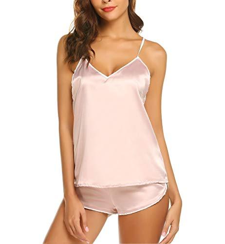 Schlafanzug Damen Kurz Sexy Set Nachtwäsche Sommer Pyjama mit Top Spaghettiträger Babydoll Nachthemd Satin Negligee (M/EU 38-40, Rosa)