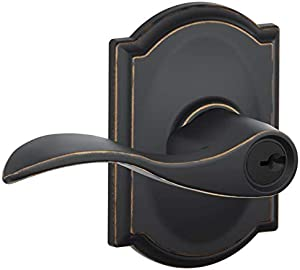 Schlage F51AACC716CAM Aged Bronze Accent Keyed Entry F51A Panic Proof Door Lever with Camelot Rosette