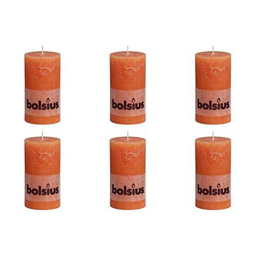 bolsius 103867590337 Rustik Stumpenkerze, 13 x 7 cm, orange (6 Stück)