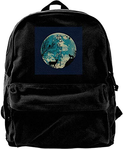 Homebe Mochila antirrobo Impermeable,Canvas Backpack Nature Wildlife Silhouettes Rucksack Gym Hiking Laptop Shoulder Bag Daypack for Men Women