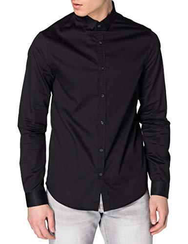 ARMANI EXCHANGE Satin Cotton Popeline Black Shirt Camicia, Nero, XL Uomo
