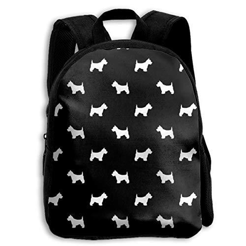 jenny-shop Westie West Highland Terrier Dog Silhouette Black School Backpacks for Kids 13 'Preschool Backpack with Adjustable Bandoulières