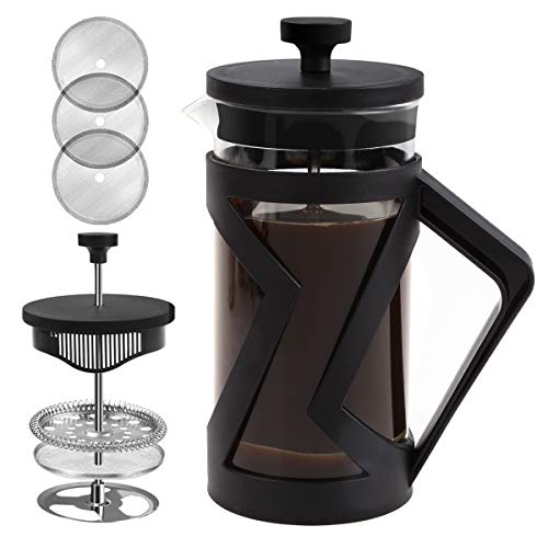 FAVIA French Press Coffee Maker 21 oz Coffee Press with 4 Filters Heat Resistant Durable Borosilicate Glass for Camping Portable BPA Free Dishwasher Safe 600ml (21oz, Black)