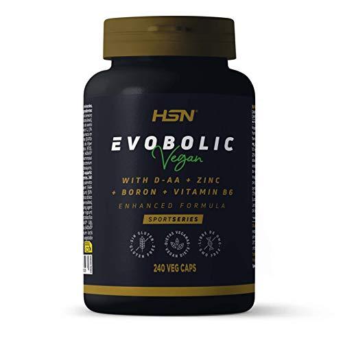 Testosterona Natural Suplemento Potenciador para Hombre | Evobolic de HSN | Testo Booster: Ácido Aspártico + ZMA + Fenogreco + Ginseng + Avena Sativa | Vegano | 240 Cápsulas Vegetales