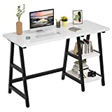 """Foxemart Computer Desk 47 Inch Study Writing Home Office Trestle Desks with Storage Shelves, 2-Tier 47"""" Modern Sturdy PC Laptop Gaming Desk, Multifunctional Wooden Work Table, Easy to Assemble, White"""