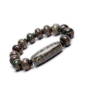 Prime Feng Shui Unisex Dzi Armband mit grünen 3 Augen und 9 Augen Dzi tibetischen Perlen Armreif zieht positive Energie und Glück an