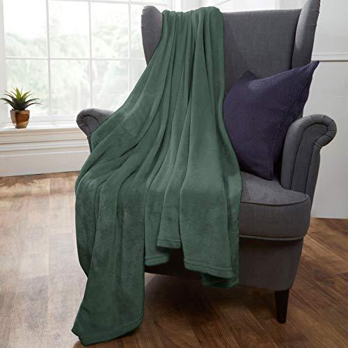 Brentfords Super Ultra Soft Flannel Fleece Blanket Large Fluffy Warm Throw Over Bed Sofa Settee, Emerald Green - 120 x 150cm