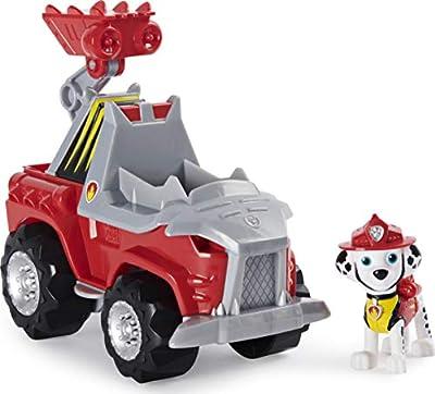 PAW Patrol Dino Rescue Marshall Deluxe Rev Up Vehículo con Figura de Dinosaurio Misterioso por Spin Master