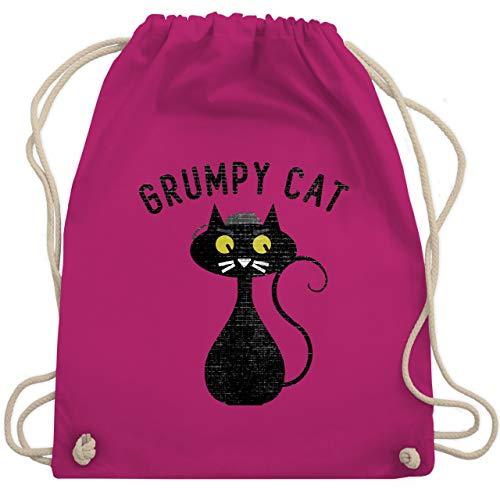 Shirtracer Nerds & Geeks - Grumpy Cat - Nerdy Cats - Unisize - Fuchsia - turnbeutel cat - WM110 - Turnbeutel und Stoffbeutel aus Baumwolle
