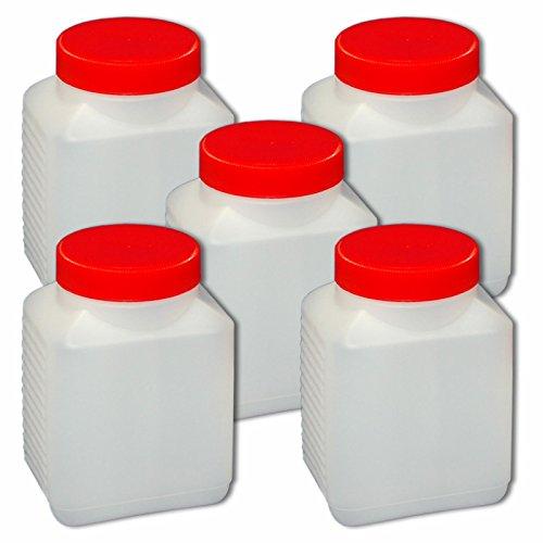 Wilai 5 x 500 ml Plastikflasche Weithalsflasche mit Verschluss Behälter PE-Flasche lebensmittelecht ***Ideal zum Abfüllen von Kosmetikprodukten***