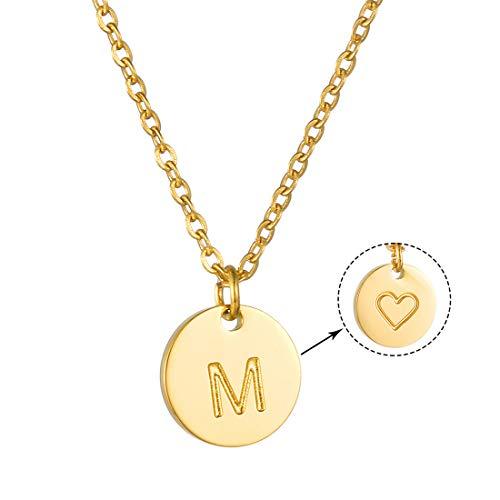 AFSTALR Collar Inicial Mujer Oro Colgante Letras Nombre Personalizado Corazón Tallado Regalo de Cumpleaños para Mamá y Abuela e Hija (1 cm de diámetro)