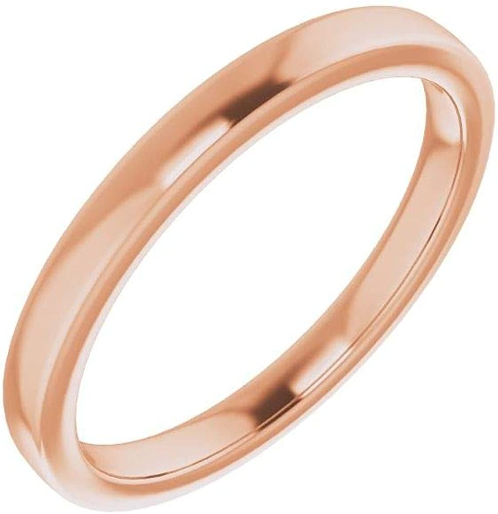Solid 14K Rose Gold Curved Notched Wedding Band for 5.5 x 5.5mm Square Ring Guard Enhancer - Size 7
