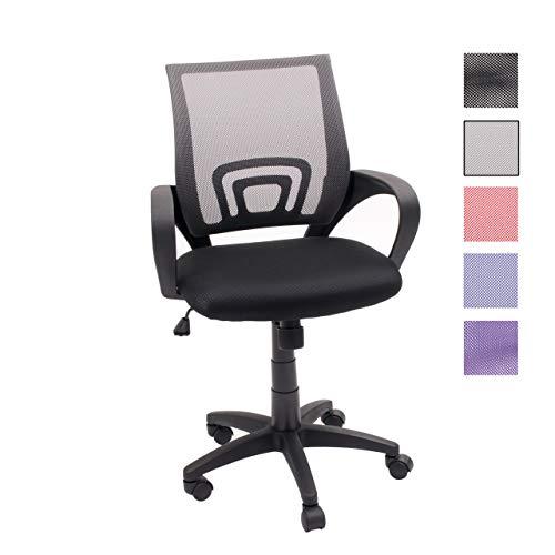 Homely Silla de Oficina, Estudio o Escritorio PRACTIK con Brazo y Tela 3D (Gris Oscuro MF-13)