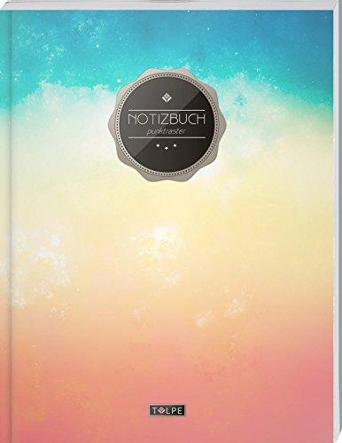 """TULPE Punktraster Notizbuch A4 """"C101 Farbverlauf"""" (140+ Seiten, Vintage Softcover, Punktkariertes Papier - Bullet Journal, Dickes Notizheft, ... Gepunktete Seiten, Dot Grid Notebook)"""