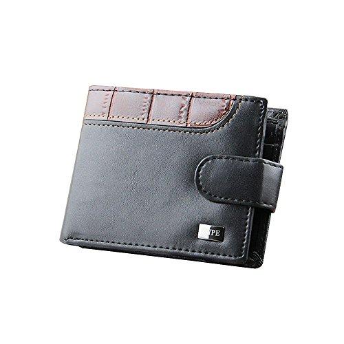 Cool Mens Faux Leather Bifold ID titolare della carta di credito denaro frizione Billfold moneta portafoglio borsa Nero Nero