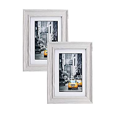 Marble Gray Wood Picture Frame 5x7 (2pc) Photo Display with Glass Front, Easel Back, Hanging Clip | 2 PIECE SET (Gray)