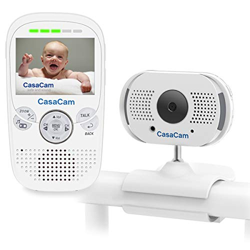 "CasaCam BM100 Video Baby Monitor with 2.3"" LCD Monitor and Digital ClipCam, Two-Way Audio, Automatic Night Vision, Temperature Monitoring, Night Light and Lullabies (1-cam kit)"
