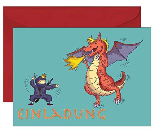 the lazy panda card company Set: 15 Einladungskarten Kindergeburtstag: Ninja und Drache Geburtstagseinladungen Einladungen Geburtstag Kinder Jungen Mädchen (Mit recycelten roten Umschlägen)
