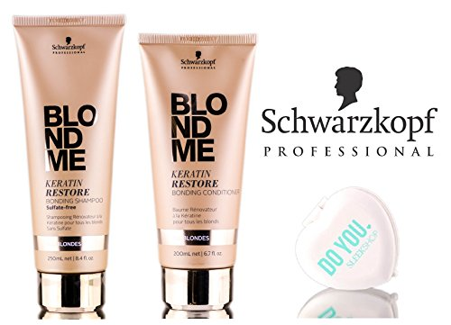 Schwarzkopf Blond Me Keratin Restore Bonding Sulfate-Free Shampoo & Conditioner (ALL BLONDES) Duo Set (with Sleek Compact Mirror) (8.4 oz + 6.7 oz - DUO kit)