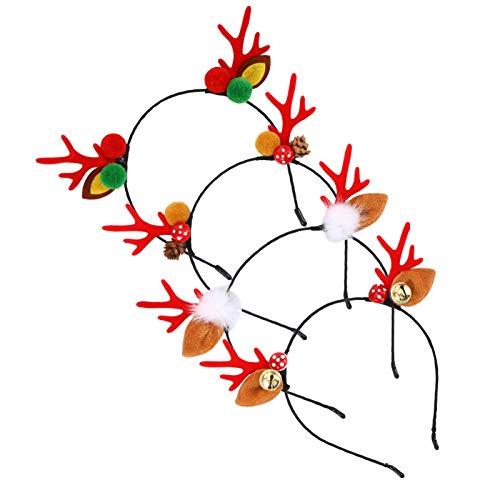 non-branded 4 Unids Cuerno de Navidad Diademas Cuerno de Reno Oreja Pom Pom Campana Bopper Tocados de Aro de Pelo para El Traje de Fiesta de Invierno en El País de Las Maravillas