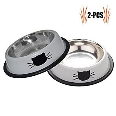 Legendog Feeding Bowl Cat, 2 Pcs Stainless Steel Non-slip Cats Bowl Cat Bowl Set | Food Bowl Cat | Drinking cup cat | Food Bowl Cat | Water feeding bowl | Cat Food Water Bowl Bowl | for Cats from Legendog