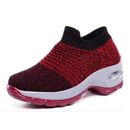 Dames Running Wandelschoenen Mesh Ademend Gebreid Mix Kleuren Sneakers Zacht Platform Instappers Loafers Lichtgewicht Fitness Luchtkussen Trainers