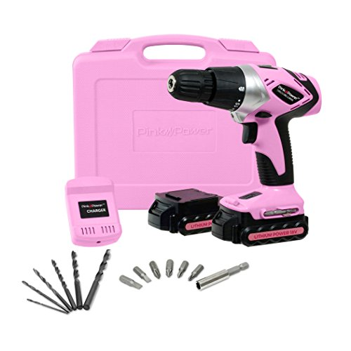 Pink Power PP182LI 18 Volt Lithium-Ion Cordless Electric Drill Driver Kit for Women- Tool Case, Drill Set, 2 Batteries & Charger