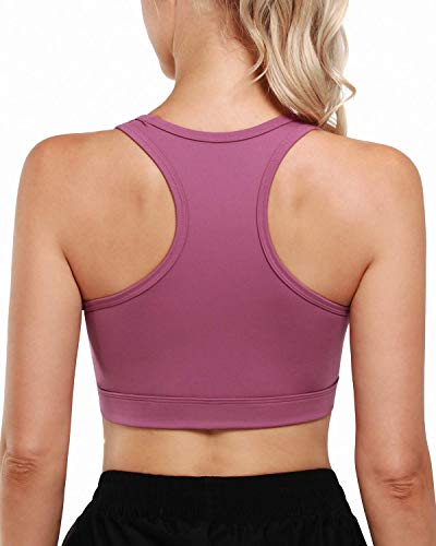 G4Free Women Racerback Sports Bras Padded Wirefree Medium Impact Activewear for Yoga Workout Purple Red