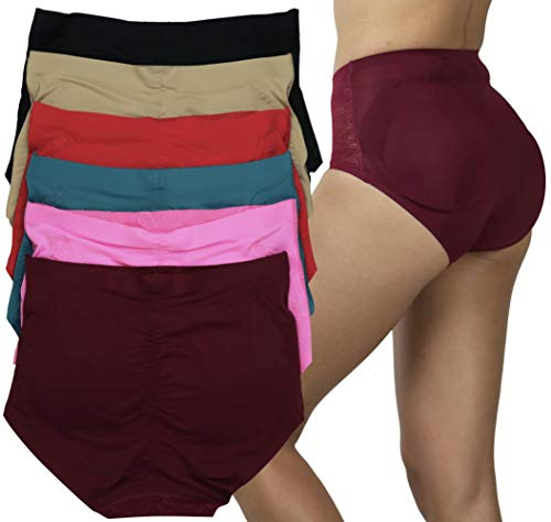 ToBeInStyle Women's Pack of 6 Butt Boosting Padded Panties – Vibrant Colors – Large
