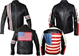 Western Fashions Easy Rider Peter Fonda, Chaqueta de Cuero Genuino Estilo American Flag 2-5xl