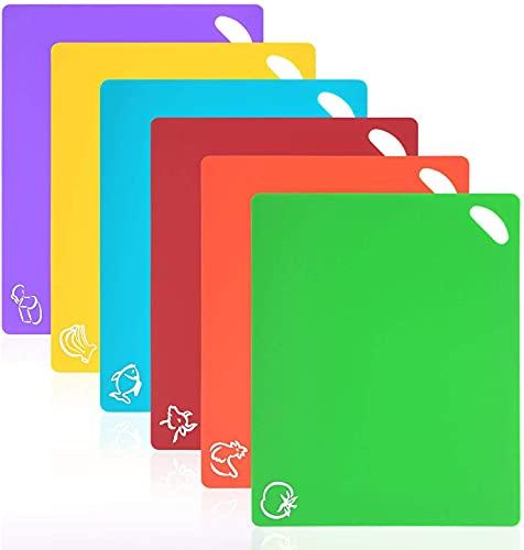 Vicloon Tablas de Cortar de Plástico, Juego de 6 Tablas de Cocina de Flexible con Color Diferente, Iconos de Alimentos y Manijas, Alimento Tablas de Cortar Antideslizante para Lavavajillas